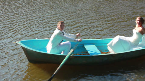 Newlyweds on Boat Stock Video Footage