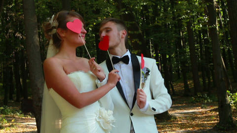 Newlyweds Playing Stock Video Footage