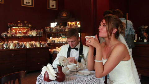 Newlyweds in Caffe Stock Video Footage