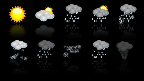 Weather animated icon set. Loop Stock Video Footage