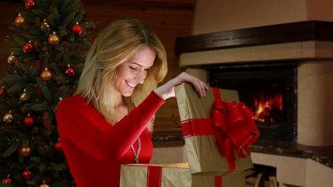 Girl receives a gift Stock Video Footage