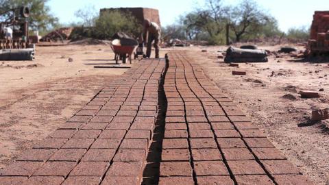 Adobe Brick Making Mud Loading Dolly Stock Video Footage
