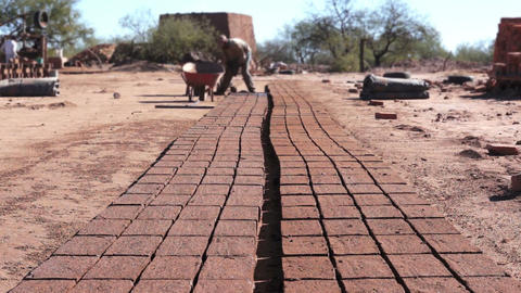 Adobe Brick Making Mud Loading Dolly Stock Video Footage