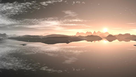 Sunset over mountain lake Stock Video Footage