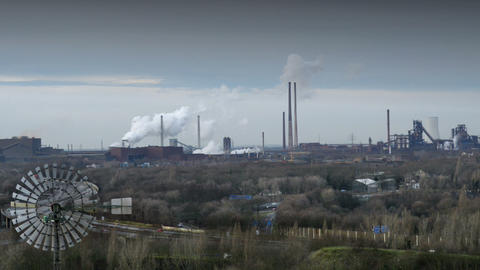 factory pollution traffic time lapse 11266 Stock Video Footage