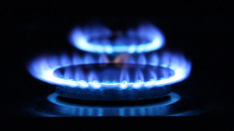 Blue flames. Flames on a gas ring burner of a natu Stock Video Footage