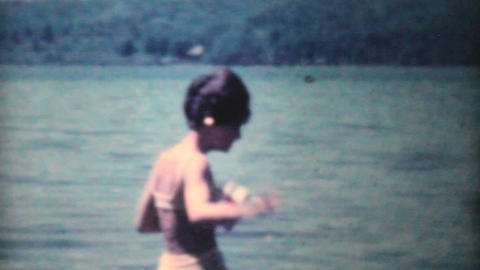 Attractive Girls In Swimsuits In Rowboat 1962 Stock Video Footage