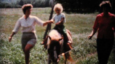 Kids Feeding A Pony At The Farm 1962 Vintage 8mm Footage