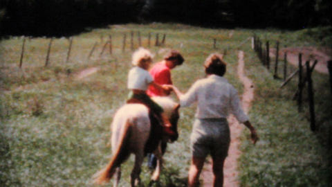 Little Girl Going For Pony Ride 1962 Vintage 8mm Stock Video Footage
