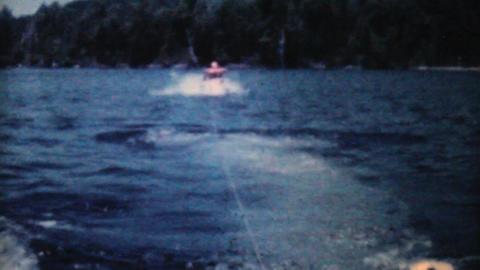 Man Water Skiiing On Lake 1962 Vintage 8mm film Stock Video Footage