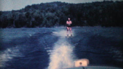 Man Water Skiiing On Lake 1962 Vintage 8mm film Footage