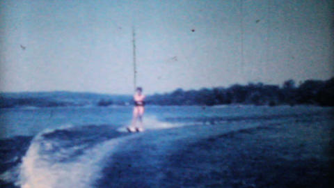 Woman Water Skiing On Lake-1962 Vintage 8mm film Footage