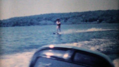 Woman Water Skiing On Lake-1962 Vintage 8mm film Stock Video Footage