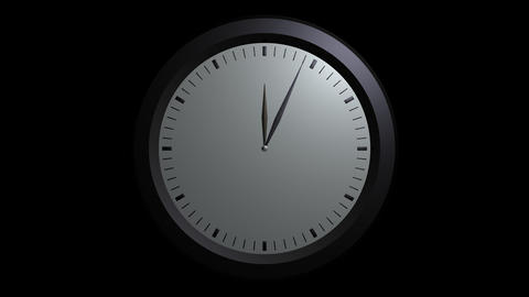 white wall clock ticking with alpha Stock Video Footage