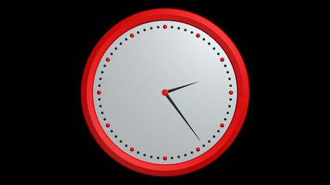 red black clock ticking with alpha Stock Video Footage