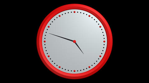 red black clock ticking with alpha Animation