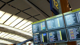 Singapore Changi Airport, screens showing flight s Stock Video Footage