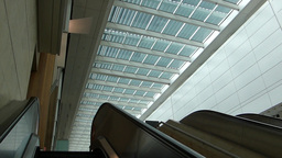 Escalator and ceilings at Singapore Changi Airport Stock Video Footage