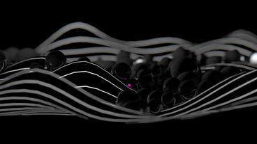 Falling black pearls,glass beads on abstract lines background,cell egg art Animation