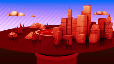 Rotation of 3d Virtual geometric City on CD records player,urban fairy tale Animation