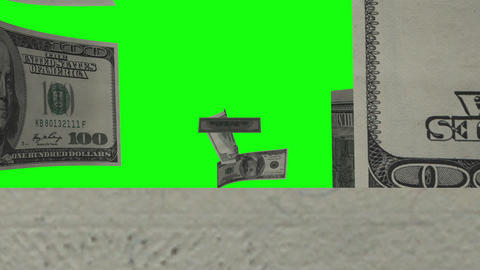$100 Dollar Bills Flying. Green Screen Stock Video Footage