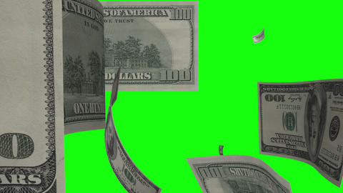 $100 Dollar Bills Flying. Green Screen Footage