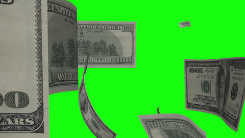 $100 Dollar Bills Flying. Green Screen Live Action