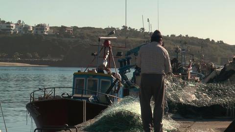fishermen preparing net closeup Stock Video Footage