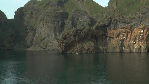 passing cliff coast at westman islands in iceland Footage