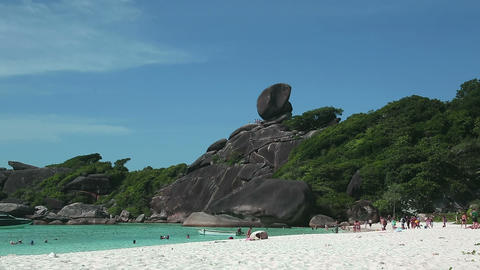 Sail rock onSimilan beach Stock Video Footage