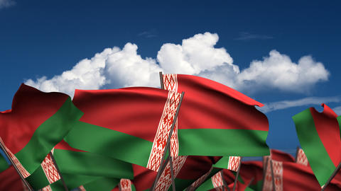 Waving Belarus Flags Stock Video Footage