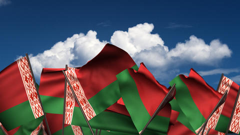 Waving Belarus Flags Animation