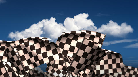 Waving Chequered Flags Stock Video Footage