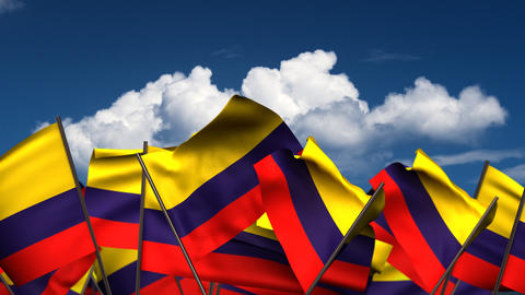 Waving Colombian Flags Animation