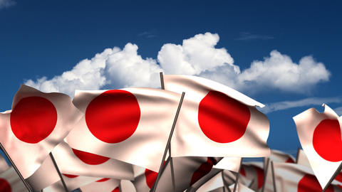 Waving Japanese Flags Stock Video Footage