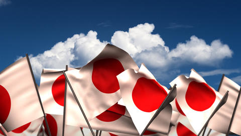 Waving Japanese Flags Animation