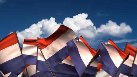 Waving Dutch Flags Animation