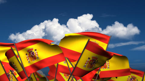 Waving Spanish Flags Stock Video Footage