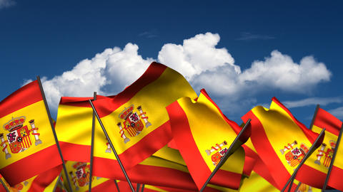 Waving Spanish Flags Animation