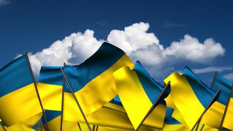 Waving Ukrainian Flags Animation
