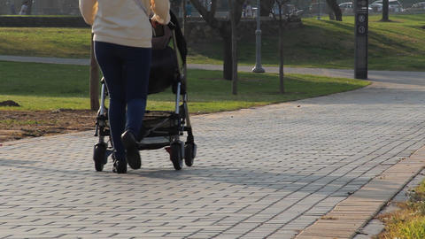 Mother with stroller walks in the park Footage