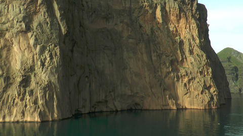 birds cliffs at westman islands in iceland drive b Stock Video Footage