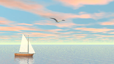 Small sailboat - 3D render Stock Video Footage