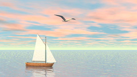Small sailboat - 3D render CG動画素材