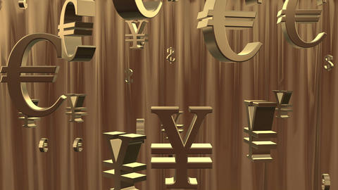 Golden rain of currency symbols CG動画素材