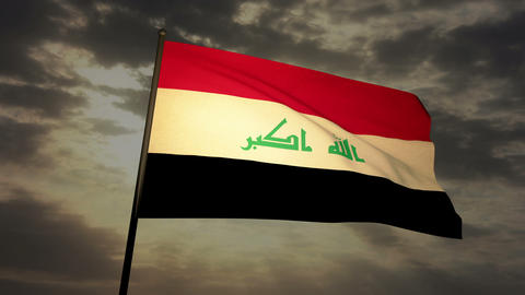 Flag Irak 03 Stock Video Footage