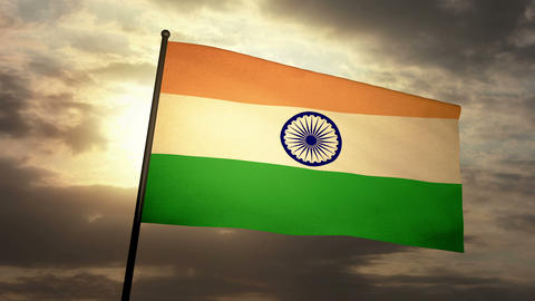 Flag India 03 Stock Video Footage