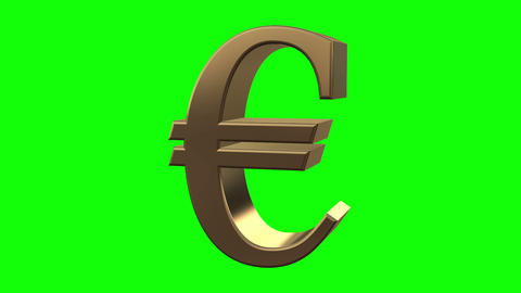 Euro symbol rotates close up Animation