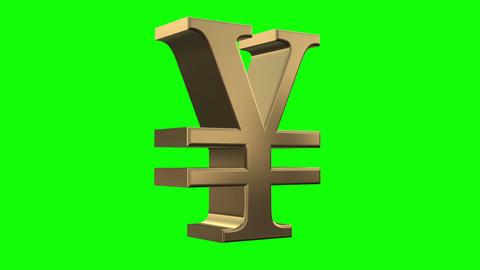 Rotation symbol yen 3D space Animation
