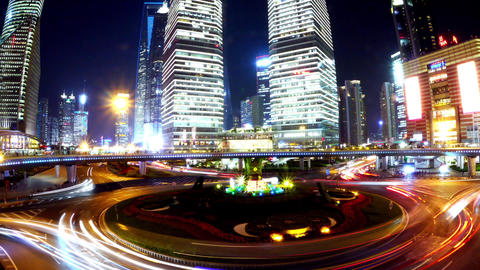 time lapse,urban traffic at night,Brightly lit shanghai pudong building,fisheye Animation